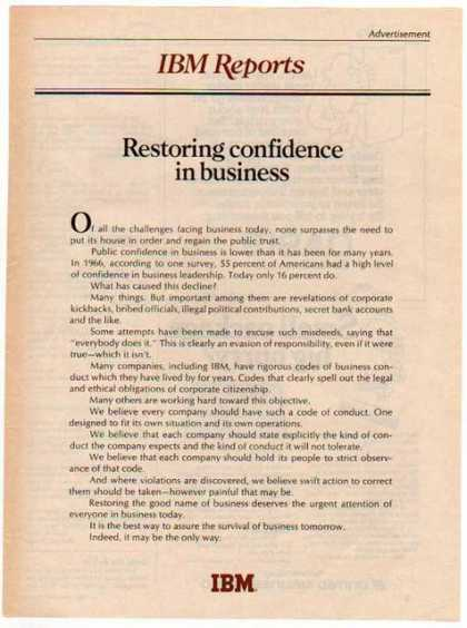 IBM Reports – Restoring confidence in business (1976)