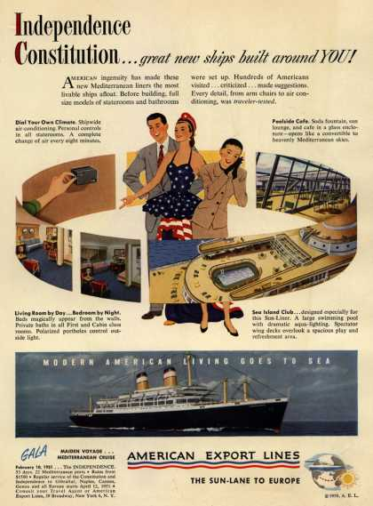 American Export Lines – Independence Constitution...great new ships built around YOU (1950)