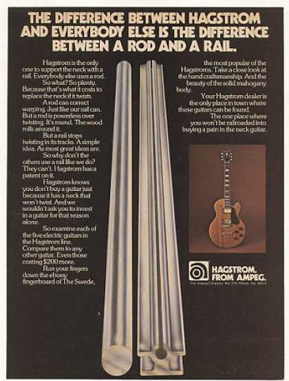 Ampeg Hagstrom Guitar Rail Neck Photo (1976)
