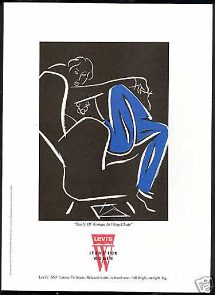 Levi's 560 Jeans Woman In Wing Chair Art (1993)