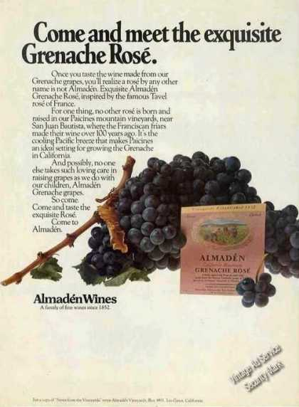 Grenache Rose Almaden Wines (1973)