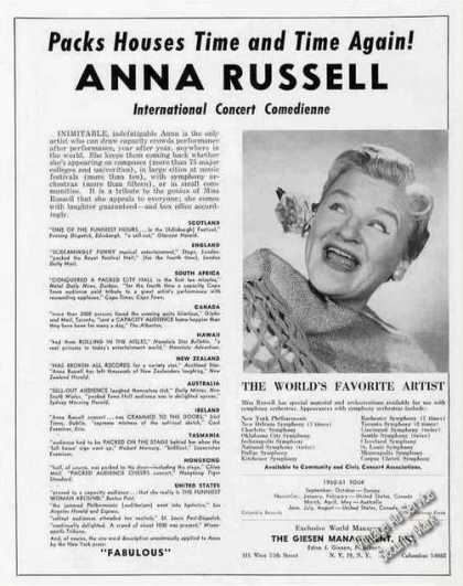 Anna Russell International Concert Comedienne (1960)
