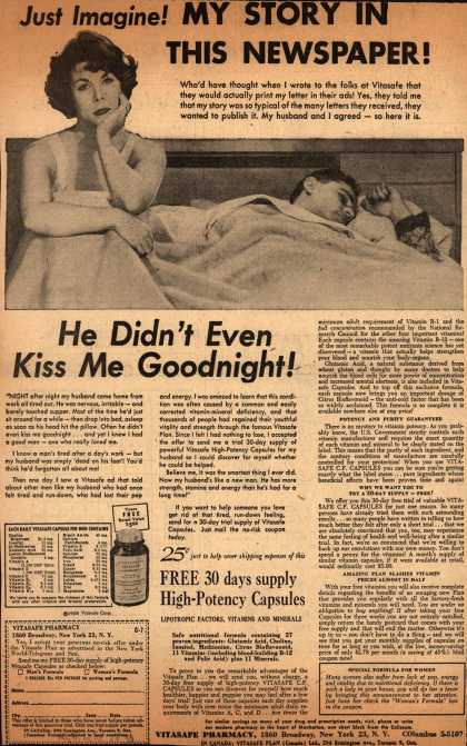 Vitasafe Corporation's Vitasafe C. F. Capsules – Just Imagine! My Story In This Newspaper (1958)