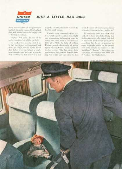 United Airlines Hawaii Ad Captain Rag Doll (1958)
