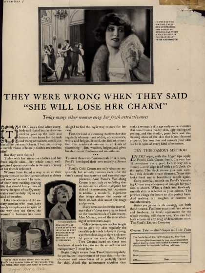 "Pond's Extract Co.'s Pond's Cold Cream and Vanishing Cream – They Were Wrong When They Said ""She Will Lose Her Charm"" (1923)"