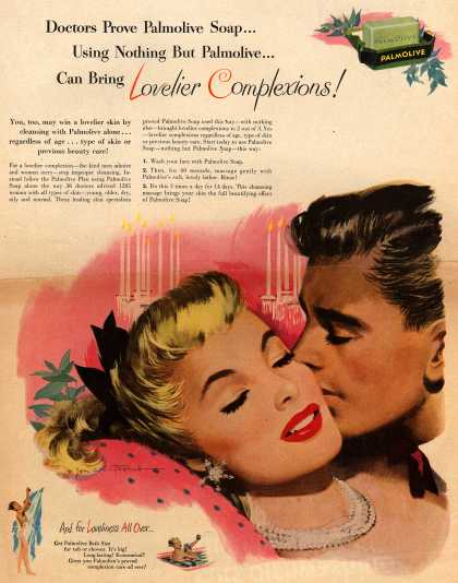 Palmolive Company's Palmolive Soap – Doctors Prove Palmolive Soap... Using Nothing But Palmolive... Can Bring Lovelier Complexions (1949)