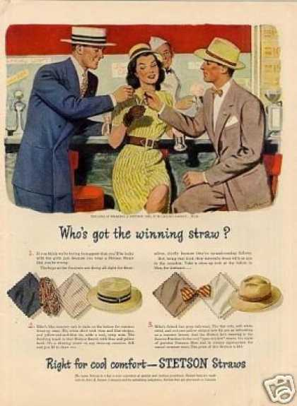 "Stetson Hat Ad ""Who's Got the Winning Straw.. (1946)"