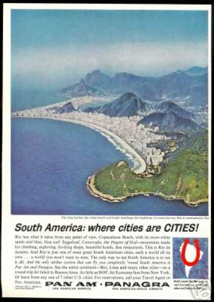 Pan Am Airlines Copacabana Beach Rio (1963)