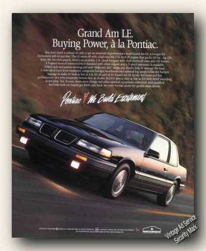 Pontiac Grand Am Le Nice Color Print Promo (1988)