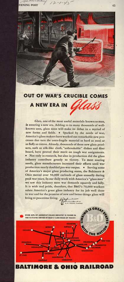 Baltimore & Ohio Railroad's transporting glass – OUT OF WAR'S CRUCIBLE COMES A NEW ERA IN Glass (1945)