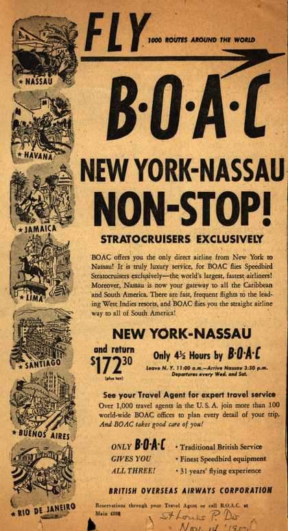 British Overseas Airways Corporation's Nassau – FLY BOAC NEW YORK-NASSAU NON-STOP (1950)