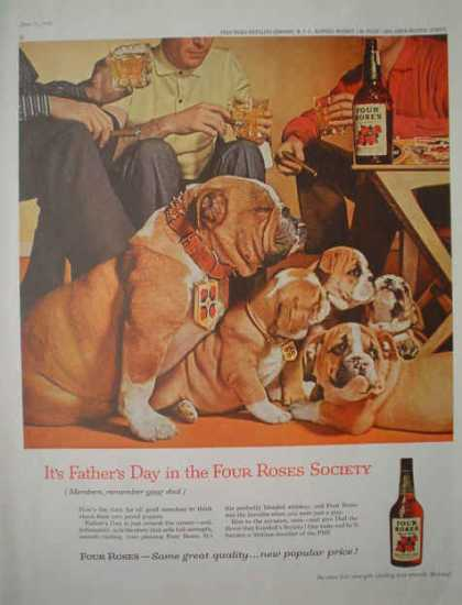 Four Roses Whiskey British Bulldog Theme Fathers Day (1959)