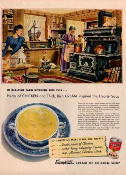 Campbells Chicken Soup 1900s Farm Kitchen Art (1951)