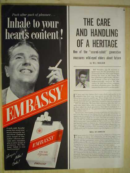 Embassy Cigarettes Inhale to your hearts content (1950)