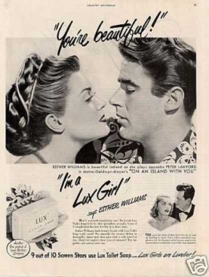 Lux Soap Ad Esther Williams, Peter Lawford (1948)