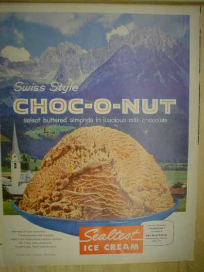 Sealtest Ice Cream Choc O Nut. Select buttered almonds (1958)