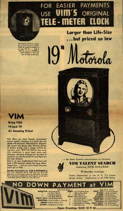 "Motorola – For Easier Payments Use VIM's Original Tele-Meter Clock Larger than Life-Size... but priced so low 19"" Motorola (1950)"