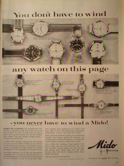 Mido watches. You don't have to wind (1956)