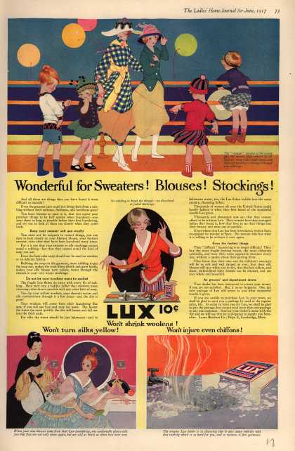 Lever Bros.'s Lux (laundry flakes) – Wonderful for Sweaters! Blouses! Stockings (1917)