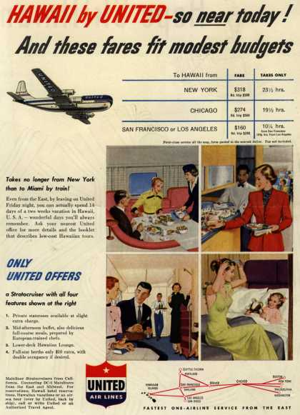 United Air Line's Hawaii – Hawaii by United – so near today! And these fares fit modest budgets (1952)