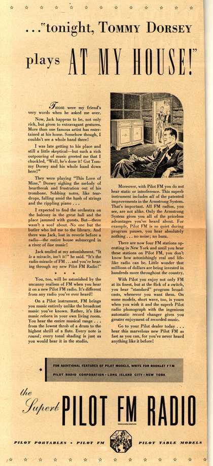 """Pilot's Various – ... """"tonight, Tommy Dorsey plays At My House!"""" (1941)"""