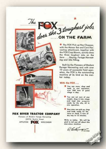 Fox Pick-up Hay Chopper Farm Advertising (1947)