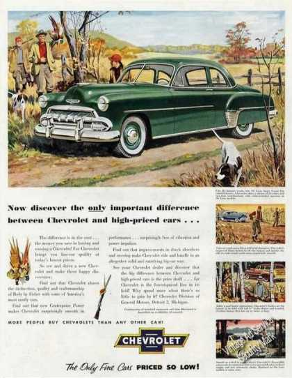 Chevrolet Deluxe In Autumn Woods Ad Nice Art (1952)