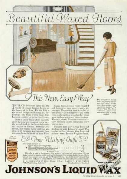 Johnson's Liquid Wax Rare Color Advertising (1925)