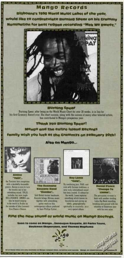 Burning Spear Photo Mango Records Trade (1991)