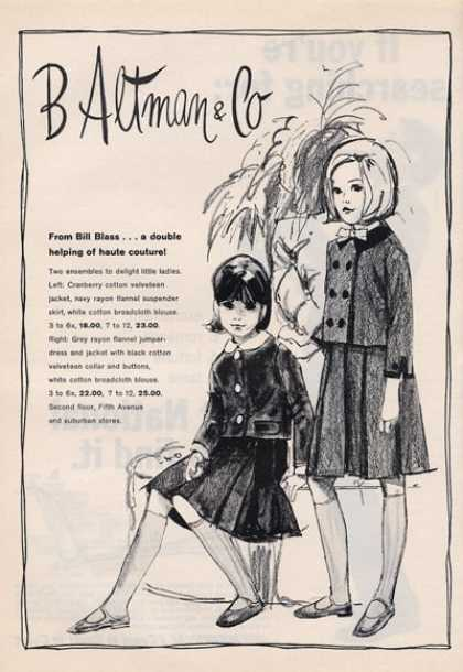 B Altman & Co Little Girls 60's Fashion (1964)