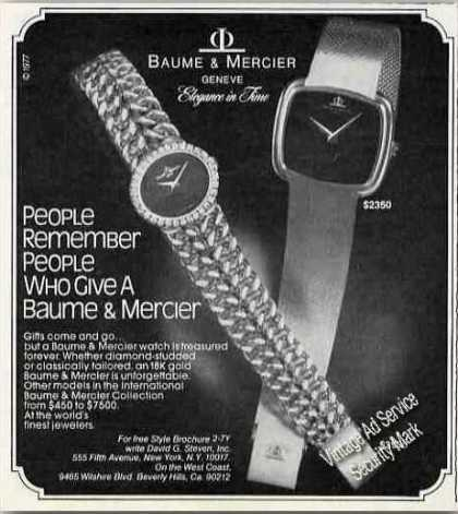 Baume & Mercier Wristwatch Photos (1977)