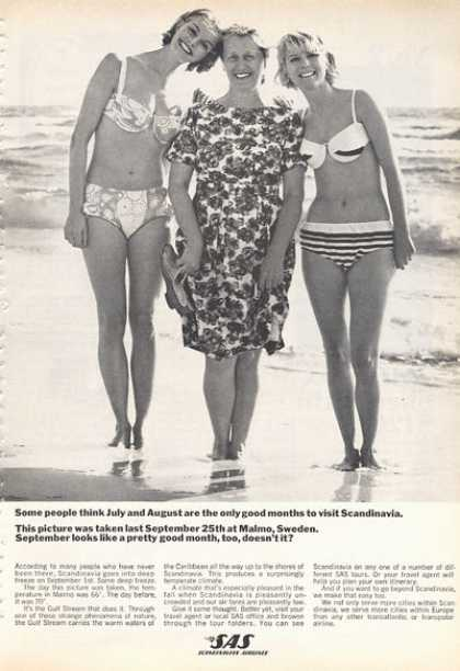 Sas Scandinavian Airlines Pretty Girls Swimsuit (1966)