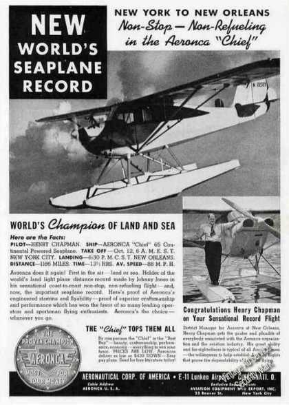 Henry Chapman World Seaplane Record Aeronca (1939)
