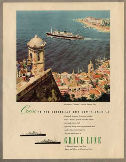 Grace Line Cartagena, Columbia Fortress (1950)
