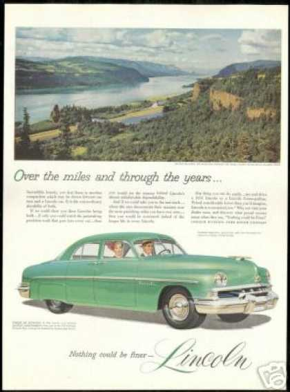 Lincoln 4 Dr Car Columbia River Vintage Photo (1951)