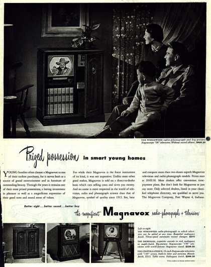 Magnavox Company's Radio-Phonograph+Television – Prized possession in smart young homes (1950)