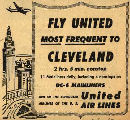 United Air Line's Cleveland – Fly United Most Frequent to Cleveland (1952)