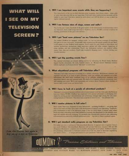 Allen B. DuMont Laboratorie's Various – What Will I See On My Television Screen? (1944)