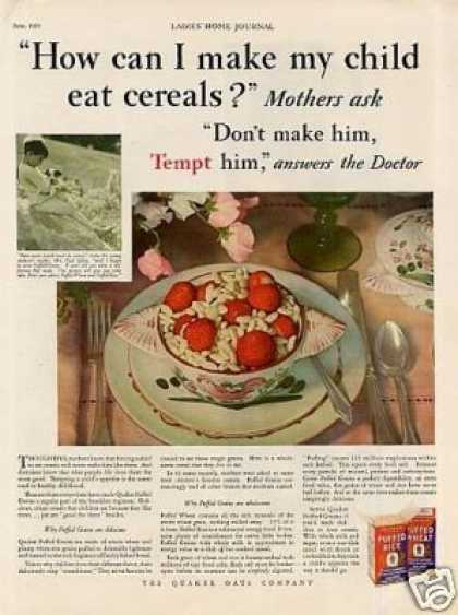 Quaker Puffed Wheat & Rice Cereal (1929)