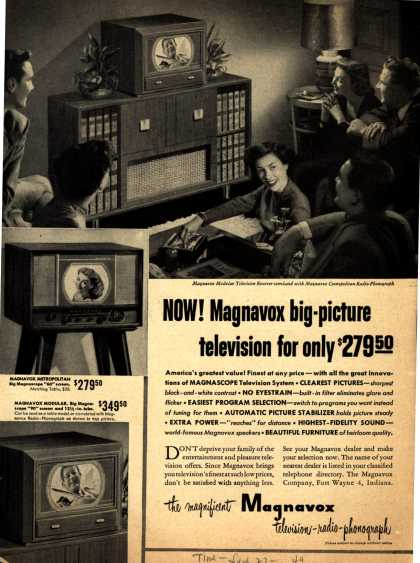 Magnavox Company's various – Now! Magnavox big-picture television for only $279.50 (1949)