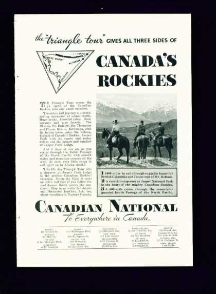 Canadian National Railways C Ad Triangle Tour (1940)