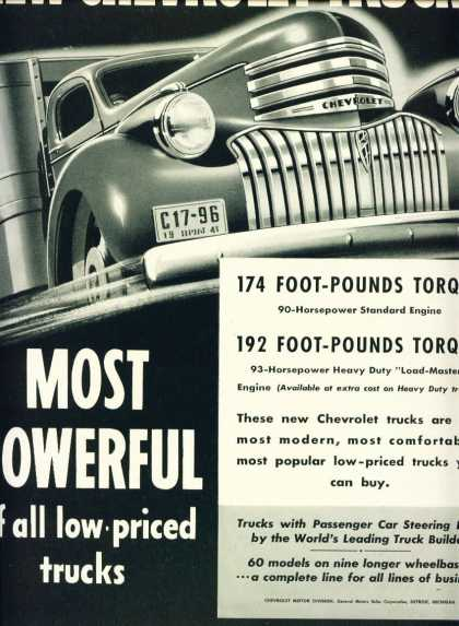 Chevrolet Trucks Most Powerful 60 Models (1941)