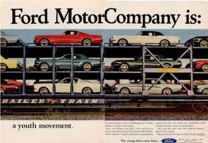 Ford Motor Mustangs On Transport (1964)