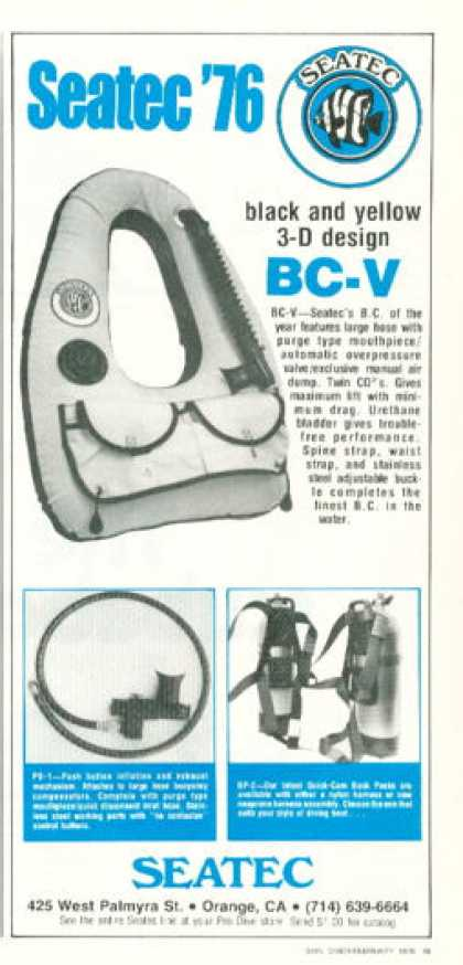 Seatec Bc-v Buoyancy Control Device Ad T (1976)