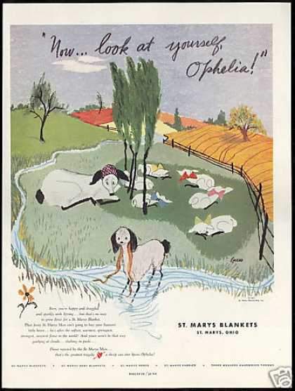 St Mary&#8217;s Blankets Sheep Eneso Art Ophelia (1951)