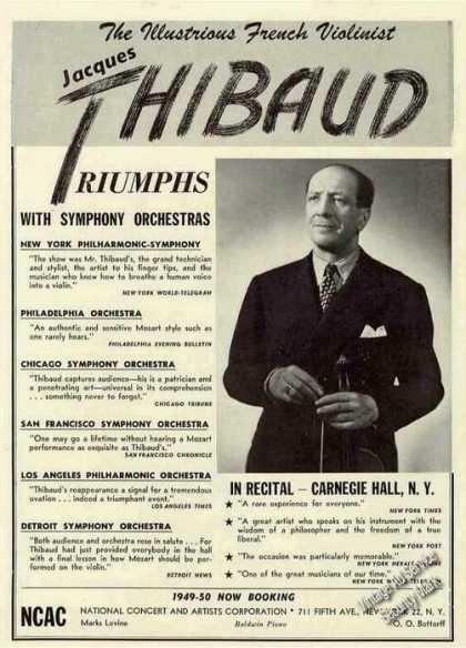 Jacques Thibaud Photo French Violinist Booking (1949)