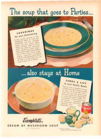 Campbell's Cream of Mushroom Soup – Soup that goes to parties (1949)