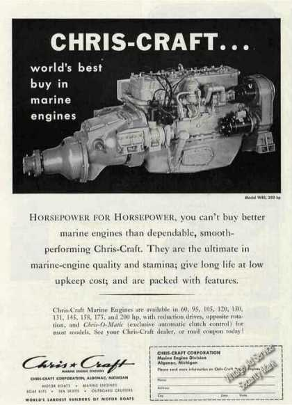 Chris-craft W85 Marine Engine Photo (1956)