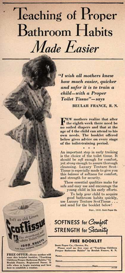 Scott Paper Company's ScotTissue – Teaching of Proper Bathroom Habits Made Easier (1940)