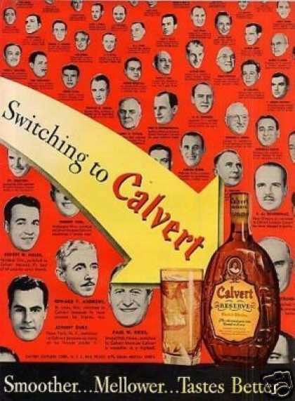 Calvert Reserve Whiskey Ad 2 Page (1949)